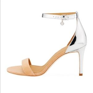 Tory Burch Ellie 85mm Ankle Strap - Nude/Silver